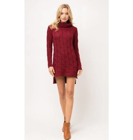 Say The Right Thing Chunky Cable Knit Sweater Dress - Burgundy