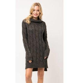 Say The Right Thing Chunky Cable Knit Sweater Dress - Charcoal