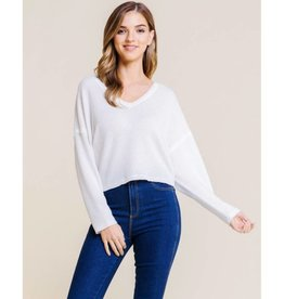 Reasons Behind It Waffle Knit Top - White