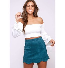 Keep Them Waiting Solid Suede Mini Skirt - Hunter Green