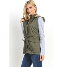 What It Seems To Be Fur Lined Hooded Vest- Olive
