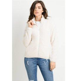 Proof Of Loyalty Fur Zipper Jacket- Birch White