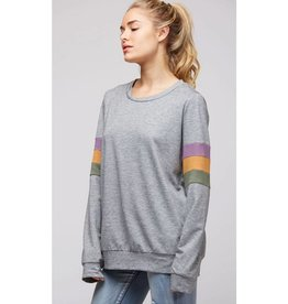 No Better View W/ Color Block Sleeves Top - H.Grey