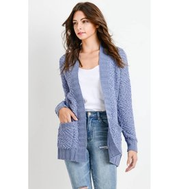 Main Thing Popcorn Knit Cardigan- Dust Blue