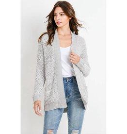 Main Thing Popcorn Knit Cardigan- Light Gray