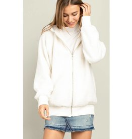 Go To It Fuzzy Zip Up Hoodie Jacket - Ivory