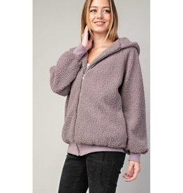 Go To It Fuzzy Zip Up Hoodie Jacket - Lavender Gray