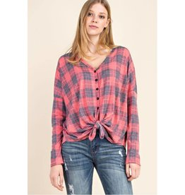 Take It As It Comes Plaid Button Down W/Tie Front Top - Red