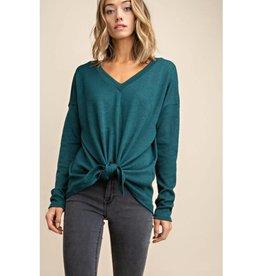 Let Me In V-Neck Tie Front Knit Top - Hunter Green