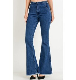 Searching For Love High Waisted Frayed Flare Jeans- Dark Wash