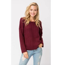 Always On The List Chunky Knit Pullover Sweater - Wine