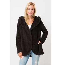 Take Things Slow Hooded Cardigan - Black