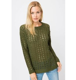 Fingers Crossed Light Knit Pullover Sweater - Olive
