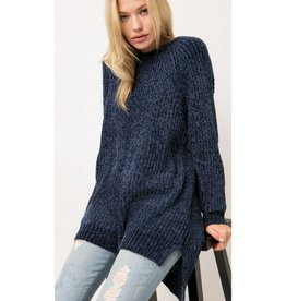 This Time Next Year Chunky Chenille Knit Sweater - Navy