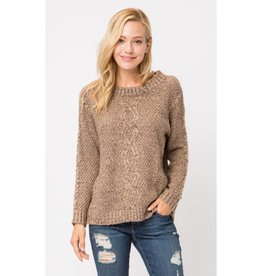 All To Easy Waffle Knit Pullover Sweater - Mocha