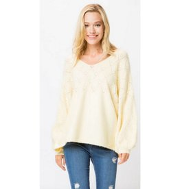 At A Moments Notice Knit Pullover Sweater - Yellow