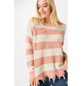 Lead It Out Chunky Knit Pullover Sweater - Dusty Pink