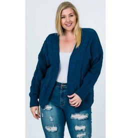 Make Them Wait Chunky Cable Chenille Knit Cardigan - Teal