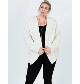 Make Them Wait Chunky Cable Chenille Knit Cardigan - Vanilla