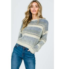 Stamp Of Approval Crew-Neck Crop Sweater- Blue Yellow