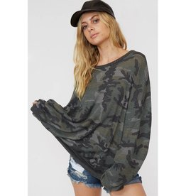 Seen This Before Thermal Camouflage Print Top - Olive