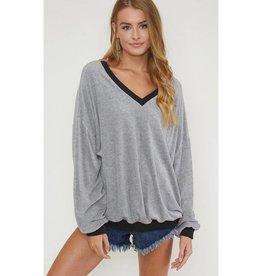 Make You Think Twice Extra Soft Sweatshirt - Grey/Black