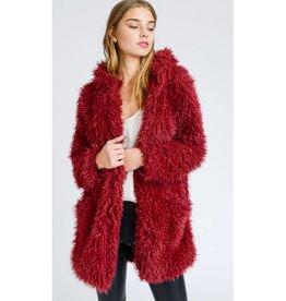 Lucky Break Llama Faux Fur Hooded Cardigan - Wine