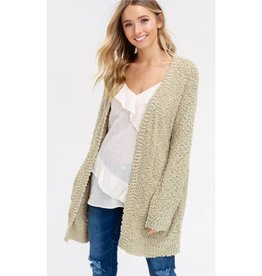 Let's Cuddle Popcorn Knit Cardigan - Light Olive