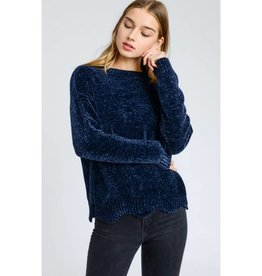 Someone Like You Solid Round Neck Knit Sweater - Navy
