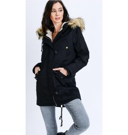 What If Hooded Sherpa Lined Zip Up Jacket - Black