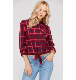 Future Favorite Plaid Print Front Tie Detail Button Down Top - Red