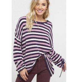 Everyday Runway Chenille Multi Stripe Sweater- Blush