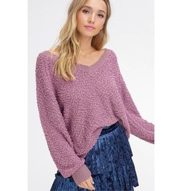 Start Of The Party V-Neck Popcorn Pullover Sweater- Berry
