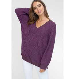 Start Of The Party V-Neck Popcorn Pullover Sweater- Plum
