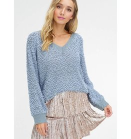 Start Of The Party V-Neck Popcorn Pullover Sweater- Sage