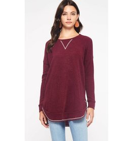Everything Casual Two Tone Tunic Top- Burgundy