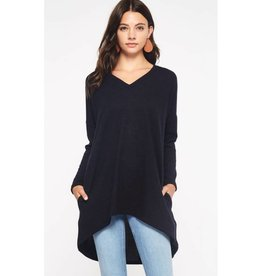 Top Of Things V-Neck Sweater Tunic w/ pockets- Black