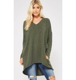 Top Of Things V-Neck Sweater Tunic w/ pockets- Olive