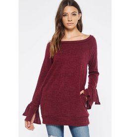 Fair For All Boat Neck Tunic Top w/ Pockets- Burgundy