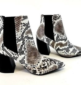 Perfect Point Ankle Booties- Black White Snake