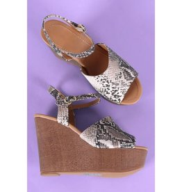 Tied To You Snake Wedges- Beige-Brown-Snake