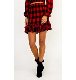 Movers and Shifters Ruffled Hem Skirt- Red Plaid