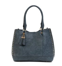The Josie 2 in 1 Studded Tote Bag- Slate