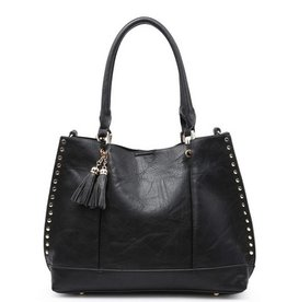 The Josie 2 in 1 Studded Tote Bag- Black
