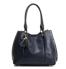 The Josie 2 in 1 Studded Tote Bag- Navy