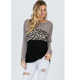 Think And Wonder Long Sleeve Mix Knit Tunic Top- Leopard Multi