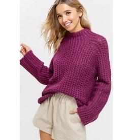 Oh So Grateful Mock Neck Knit Sweater-Plum