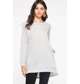 Better Today French Terry Tunic Top-Heather Grey