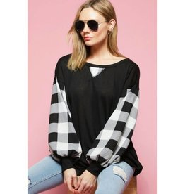 Write Your Story Checkered Balloon Sleeve Top- Black