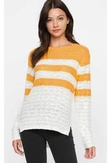 No New Details Stripe Knit Top- Mustard